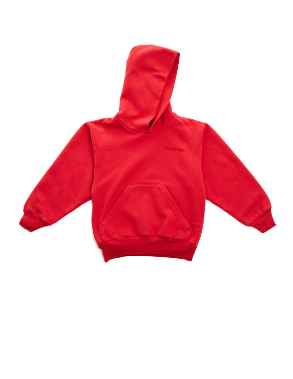 857a6c086 Kids Balenciaga Cotton Embroidered Hoodie - Red   Garmentory