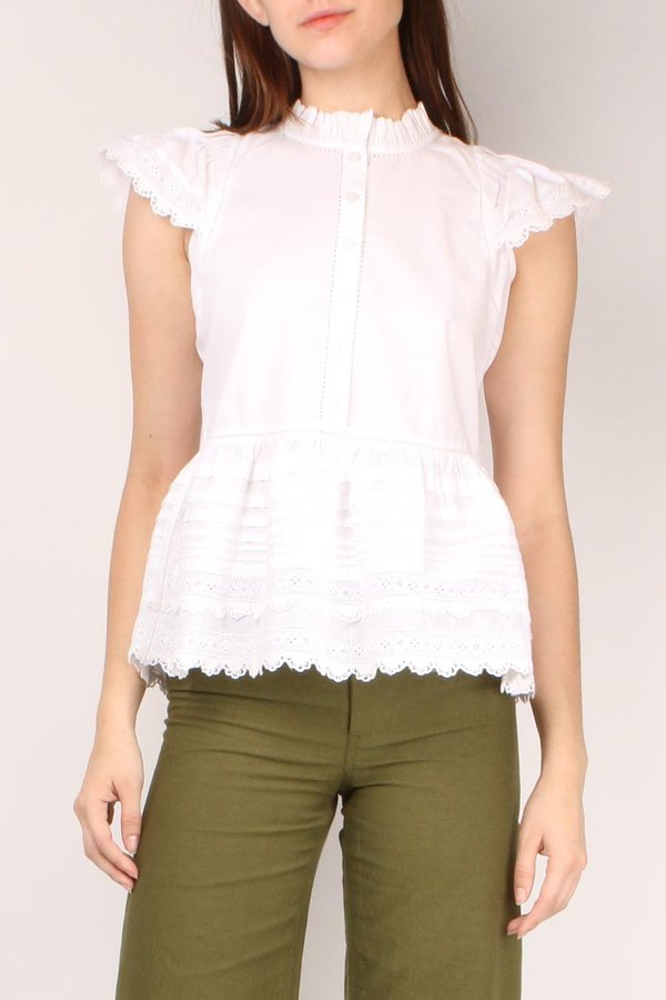 52d8d82059e Sea NY Lilli Eyelet Flutter Sleeve Top - White | Garmentory
