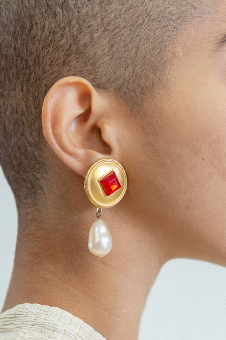 Ben Amun Vintage Drop Earrings - Ruby