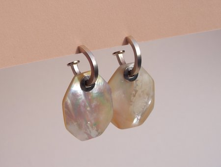 Octave Jewelry Square Charm Hoop Earrings - Mother of Pearl