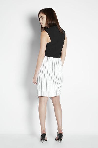 JOA Asymmetrical Pinstriped Skirt