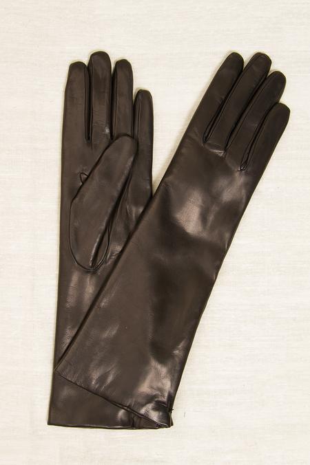 Fratelli Orsini Long Rabbit Fur Lined Gloves - Black