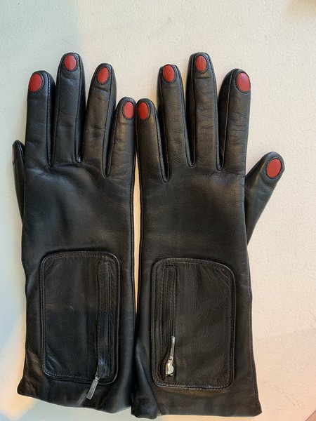 Aristide Nails Leather Gloves - BLACK