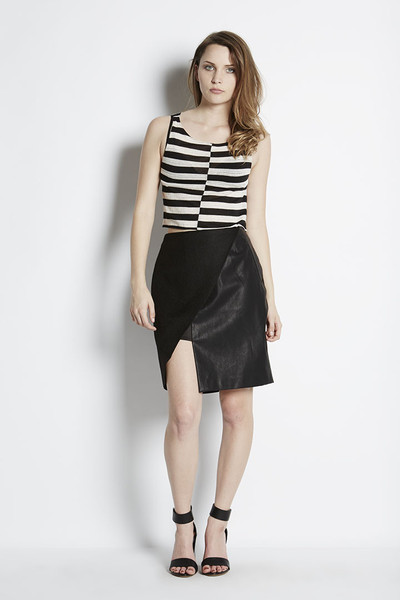 N/TICE Mesh Stripe Jersey Crop Top