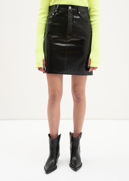 Helmut Lang Patent Five Pocket Leather Skirt - Black