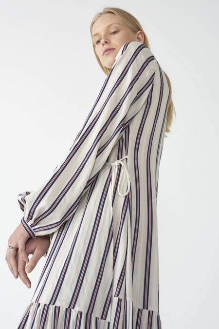 Matin Tiered Wrap Dress - Stripe
