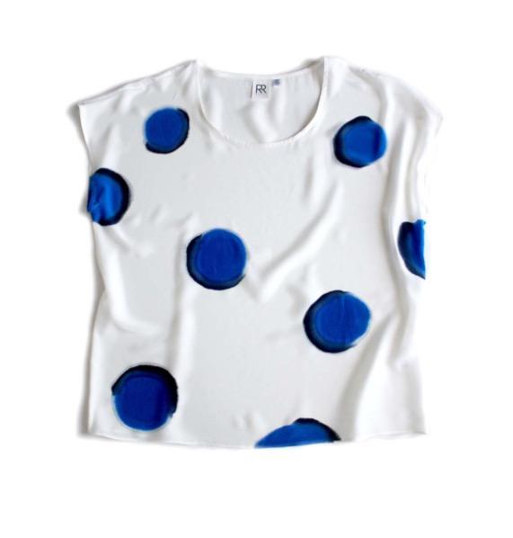Rachel Rose Silk Blue Dots Tee