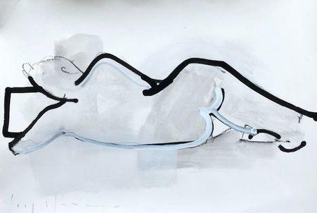 """Kate Long Stevenson """"Untitled V, White Nude"""" Framed"""