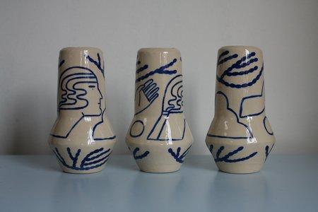 Sophie Alda Large Rocket Vase - CREAM/BLUE