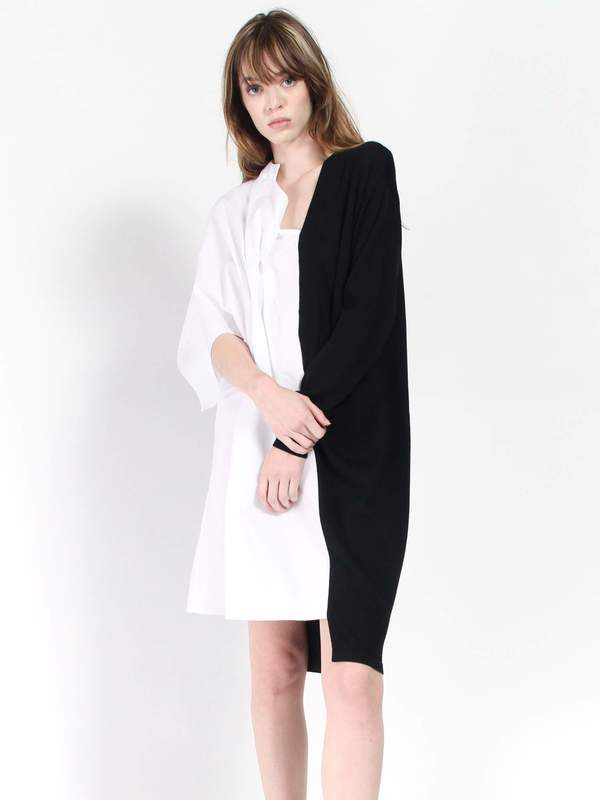Ji Oh Half Sweater Shirt Dress Whiteblack Garmentory