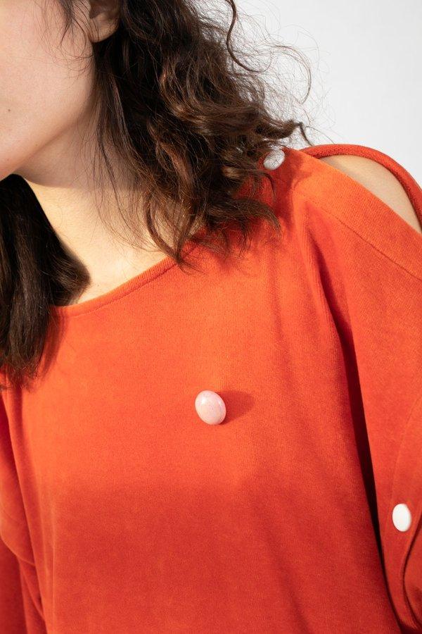 Monty J Ceramic Button Brooch - Pink