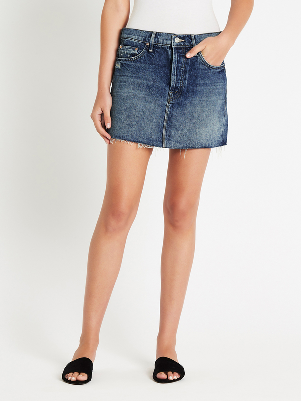 Mother denim the vagabond mini fray skirt - lightning strikes