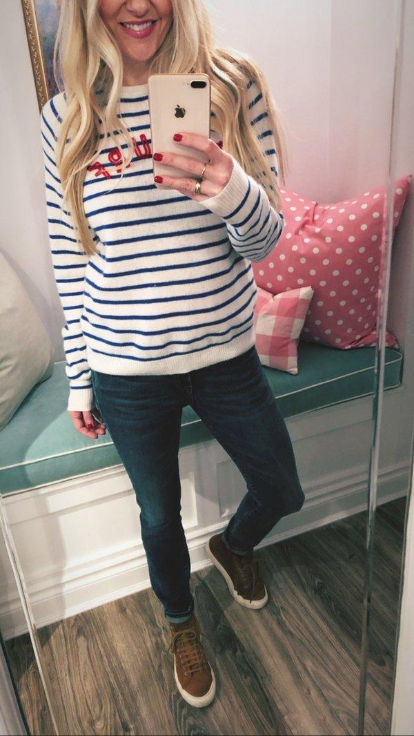 0e93dfdd Trovata Renee Le Surf Cashmere Sweater - indigo stripe | Garmentory