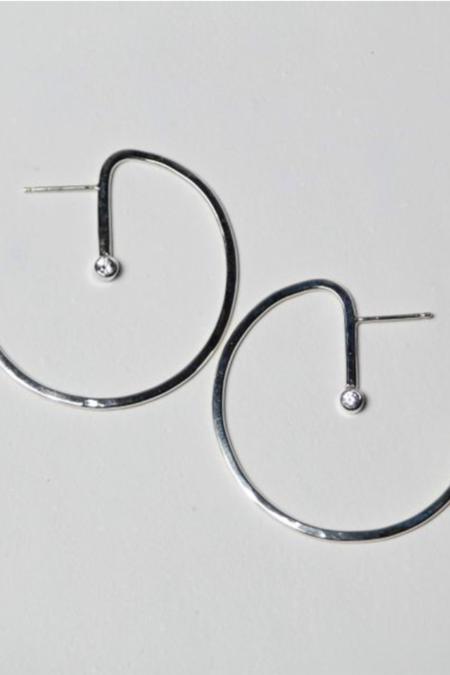 TIN HAUS Lunar Star Hoop Earrings - Silver