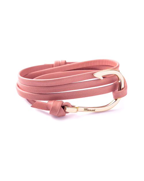 Miansai Gold Fish Hook And Pink Leather Wrap Bracelet