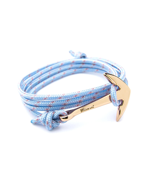 Miansai Gold Anchor And Sky Blue Rope Wrap Bracelet