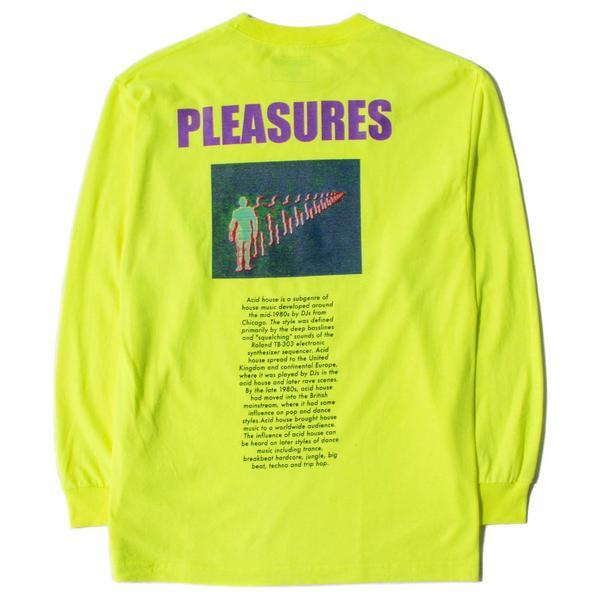 c19d54c33fd4 Pleasures Acid House Long Sleeve T-shirt - Safety Green | Garmentory