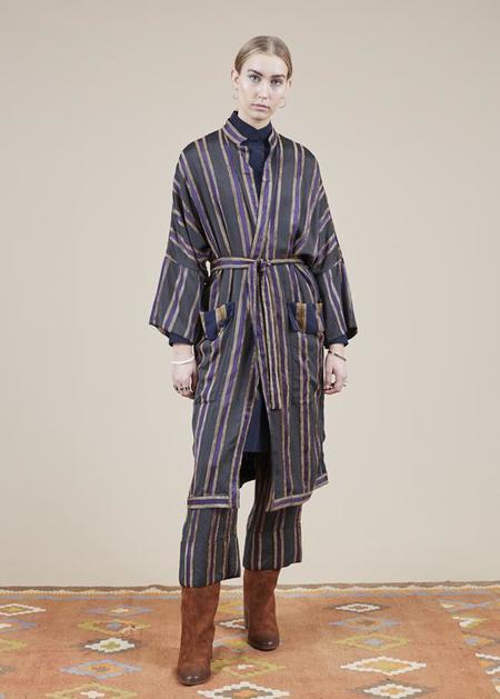 annette gortz Mauro Kimono Robe - charcoal/gold