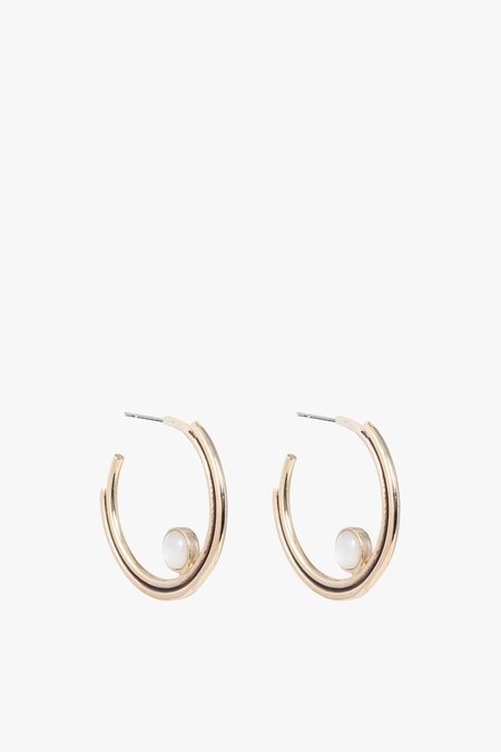 Artifacts Arc Hoop with Stone Earrings - Brass