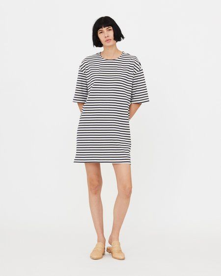 Esby EVELYN SHIRT DRESS - WHITE/MIDNIGHT STRIPE