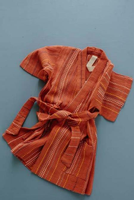 Kids Millk Occasional Kimono - Red Woven Stripe