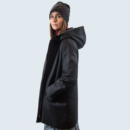 Valerie Dumaine Faux Leather Paden Coat - black