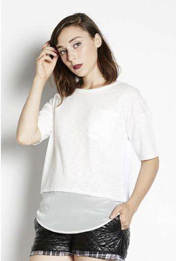 Shades of Grey by Micah Cohen Chiffon Hem Cropped T-Shirt