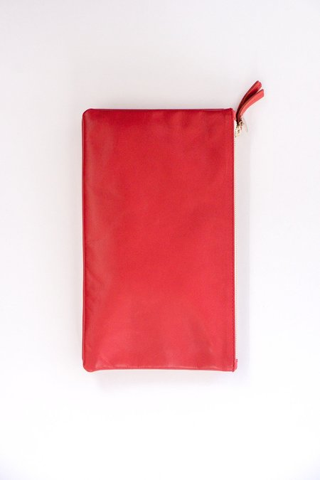 Clare V. Double Removable Clutch in Poppy Red Amalfi Lamb Leather