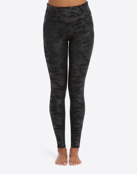 Spanx Faux Leather Leggings - Matte Black Camo