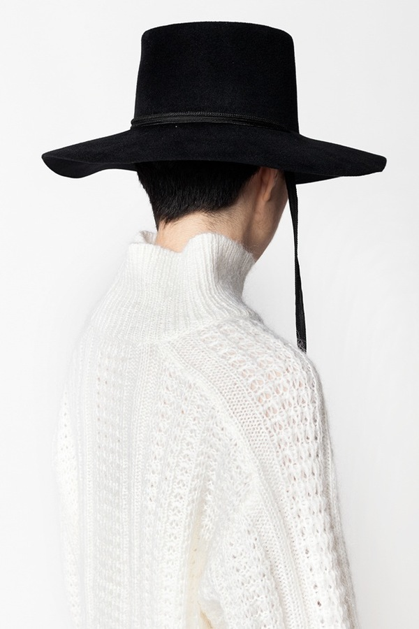 Clyde Wide Brim Gaucho Hat with Drawstring - black