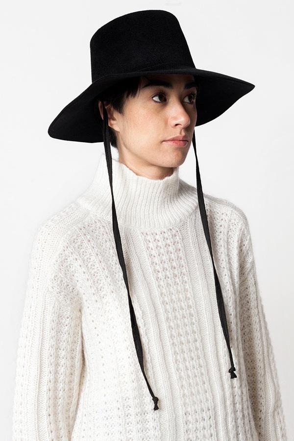 Clyde Wide Brim Gaucho Hat with Drawstring - black