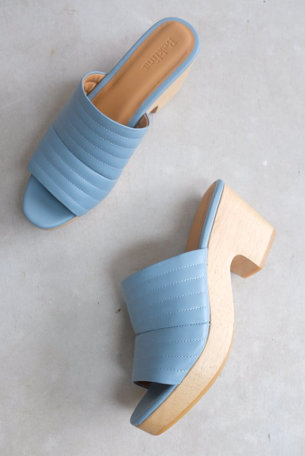 Beklina Ribbed Clog Open Toe - Sky