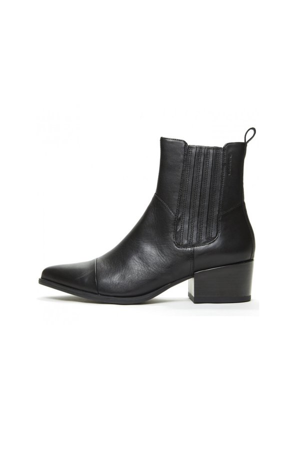 Vagabond marja leather midi boot - black