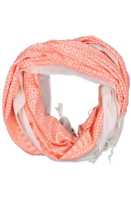 Mela Artisans Oversized Embroidered Scarf - Coral