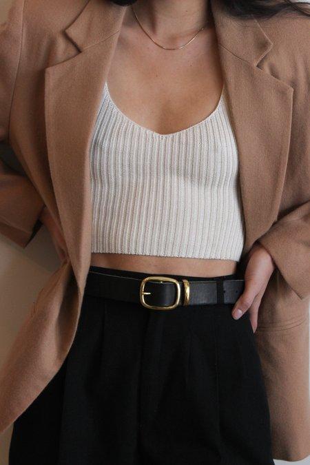 Avenue Black Leather Belt - Brass