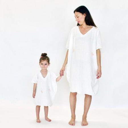 Atsuyo et Akiko Cotton Gauze Terre Earth Dress - White