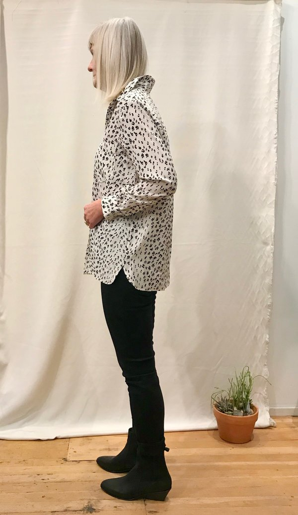 No.6 Luke Shirt - White/Black Animal