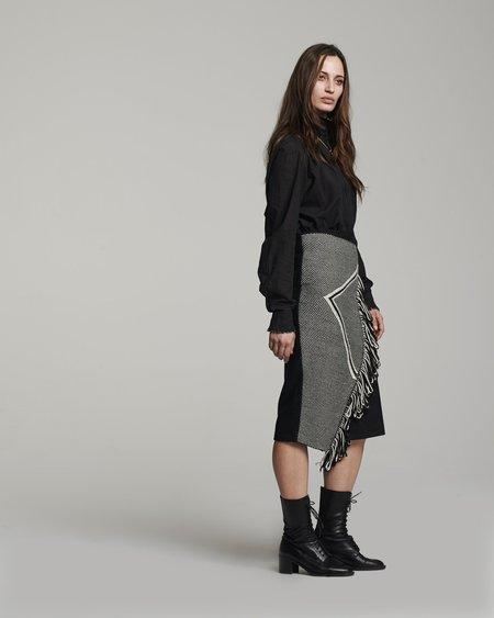 VOZ Arrow Fringe Skirt - Black/Ivory