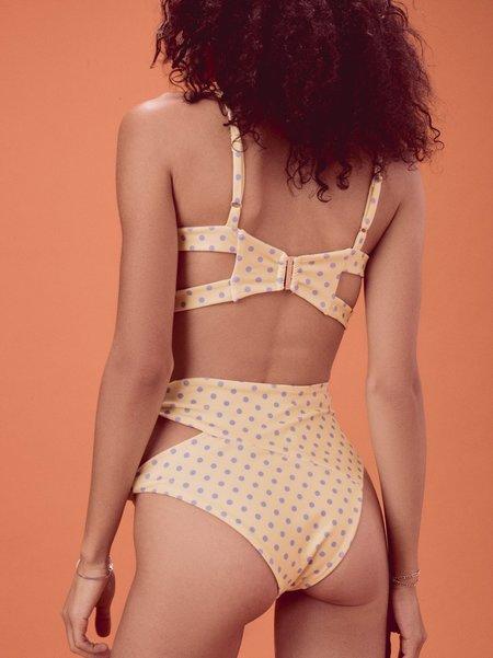FOR LOVE & LEMONS Limoncello Knot Bikini Top - Yellow/Blue Polka Dots
