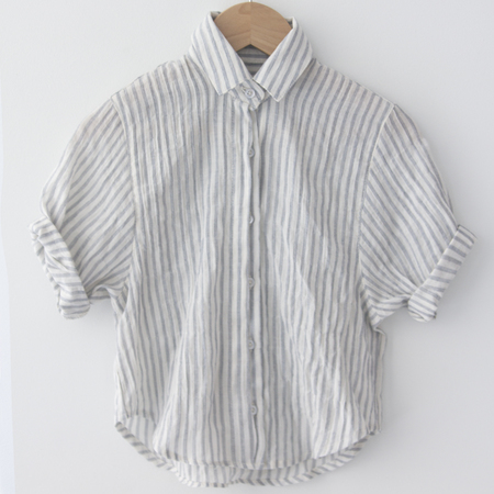 KIDS Pley Spanish Banks Button-Up Shirt - Blue Stripe