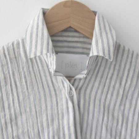 KIDS Pley Spanish Banks Button-Up Shirt - Blue Stripe