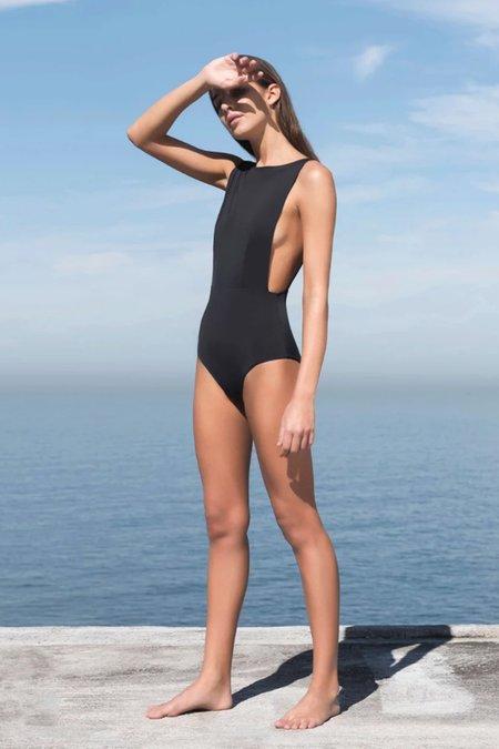 Haight New Side Slit Maillot Swimsuit - black