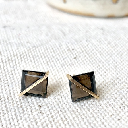 Januka Smoky Quartz Earrings - 10k Gold
