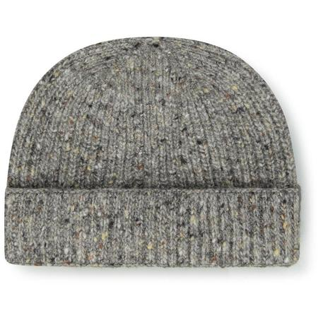 Burrows and Hare English Made Irish Donegal Merino Wool Beanie Hat - Grey