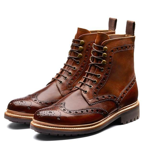 dafd2fb767a23 Grenson 'Fred' Brogue Boot - Handpainted Dark Brown   Garmentory