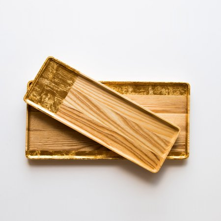 Nadine Hajjar Tre Ash Wood Serving Plates - Gold Leaf