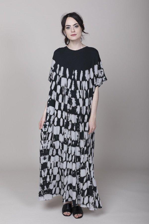 Raquel Allegra Gathered Caftan Maxi Dress Black Tie Dye Garmentory