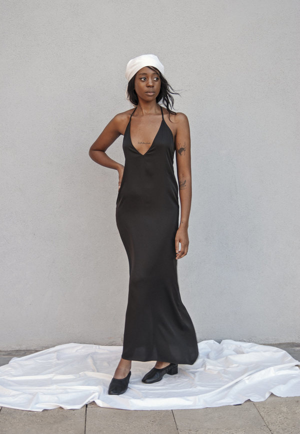 K M by L A N G E Open Back Asymmetric Slip Dress - Black