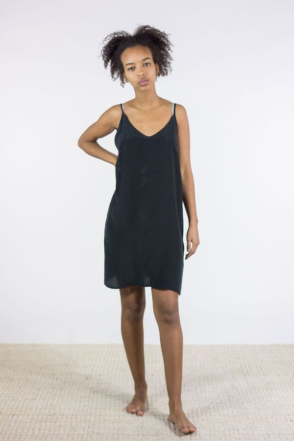 2f13ea7aef1 Ali Golden Silk Slip Dress In Black Garmentory