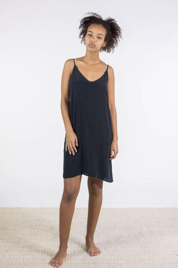 Ali Golden Silk Slip Dress In Black Garmentory